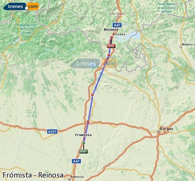 Karte vergrößern Züge Frómista Reinosa