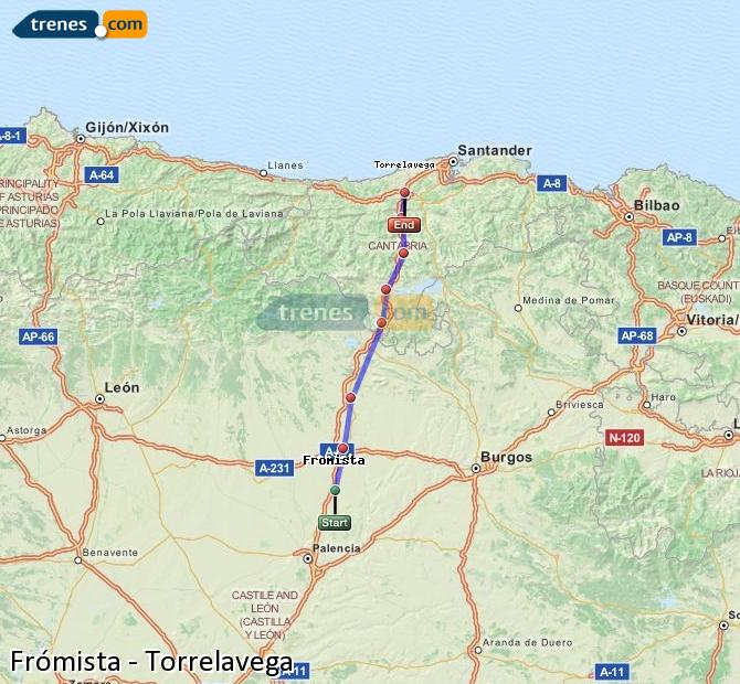 Enlarge map Trains Frómista to Torrelavega