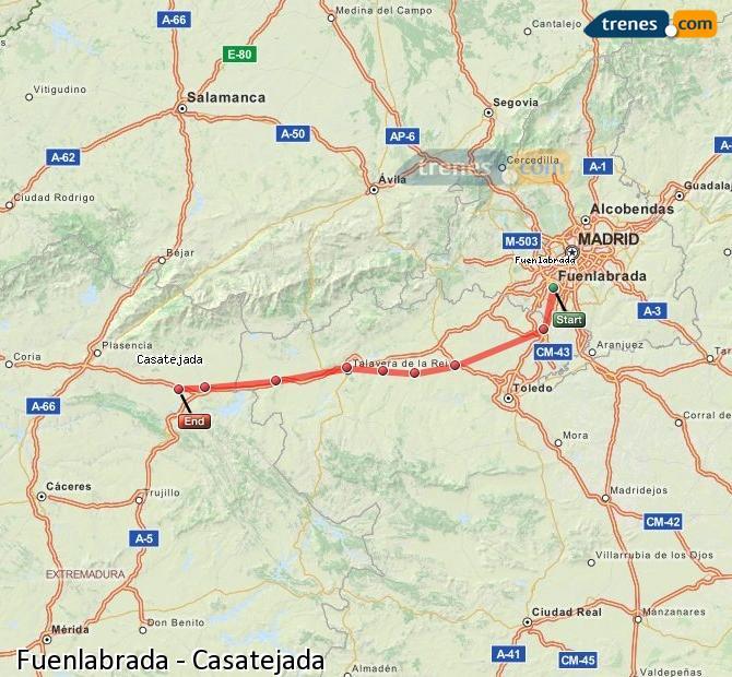 Enlarge map Trains Fuenlabrada to Casatejada