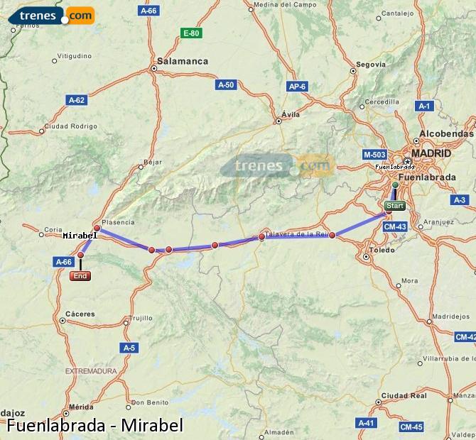 Karte vergrößern Züge Fuenlabrada Mirabel