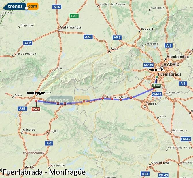 Agrandir la carte Trains Fuenlabrada Monfragüe