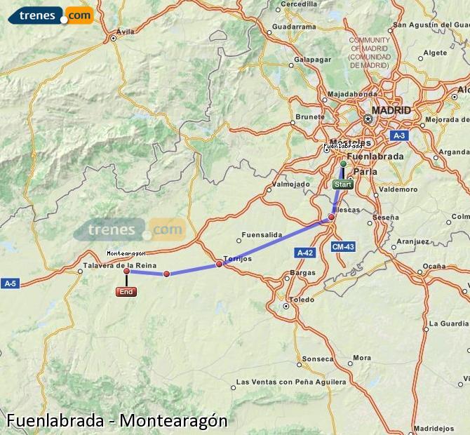 Ampliar mapa Trenes Fuenlabrada Montearagón