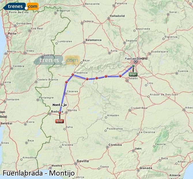 Karte vergrößern Züge Fuenlabrada Montijo