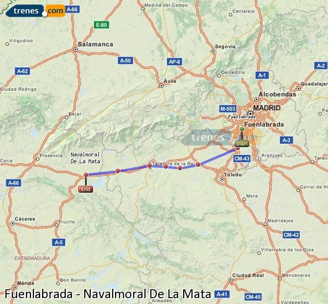 Agrandir la carte Trains Fuenlabrada Navalmoral De La Mata