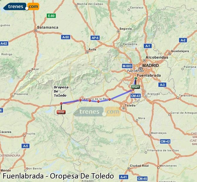 Karte vergrößern Züge Fuenlabrada Oropesa De Toledo
