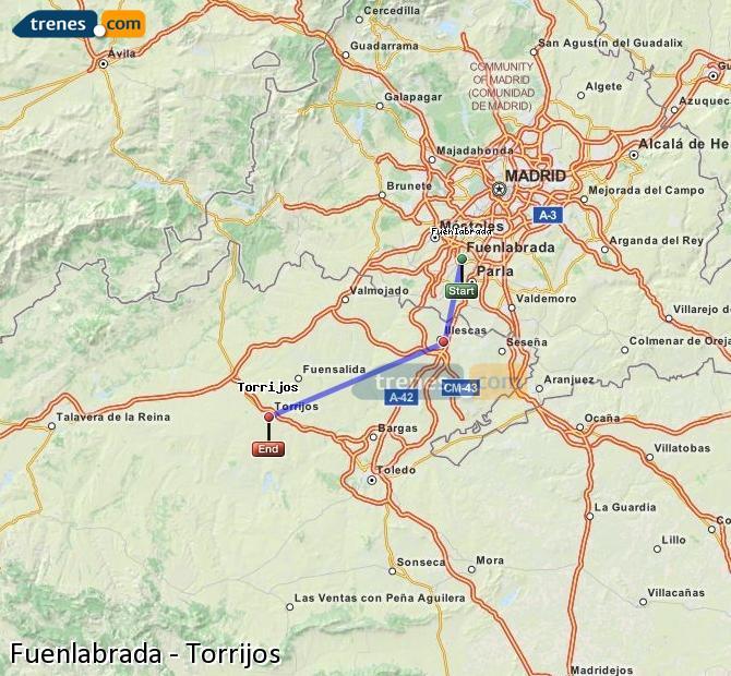 Agrandir la carte Trains Fuenlabrada Torrijos