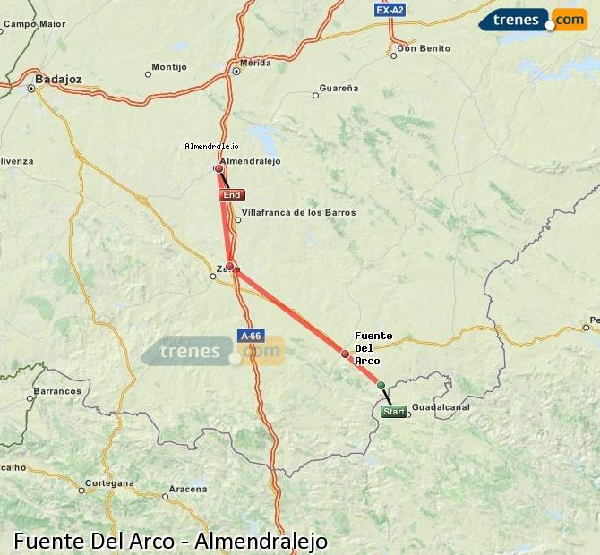 Karte vergrößern Züge Fuente Del Arco Almendralejo