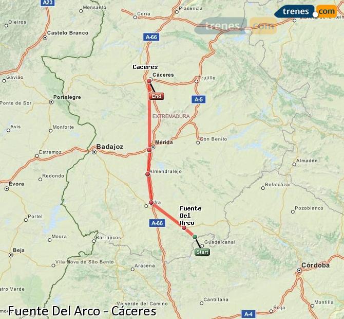 Agrandir la carte Trains Fuente Del Arco Cáceres