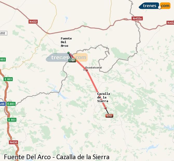 Enlarge map Trains Fuente Del Arco to Cazalla de la Sierra