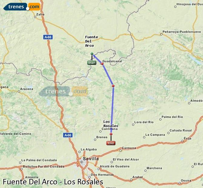 Enlarge map Trains Fuente Del Arco to Los Rosales