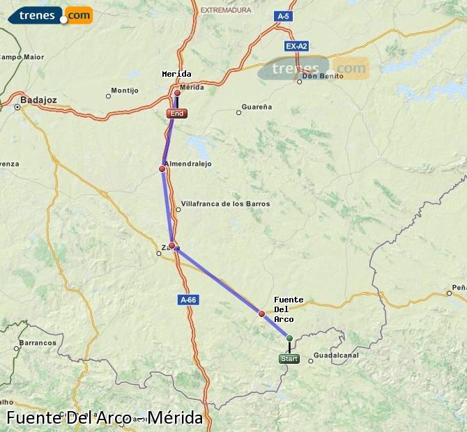 Karte vergrößern Züge Fuente Del Arco Mérida