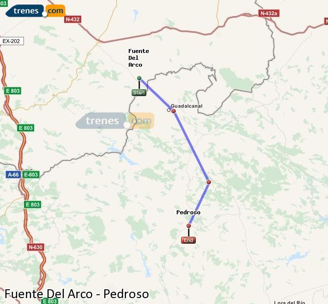 Agrandir la carte Trains Fuente Del Arco Pedroso