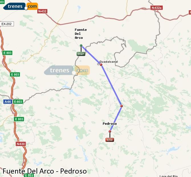 Enlarge map Trains Fuente Del Arco to Pedroso