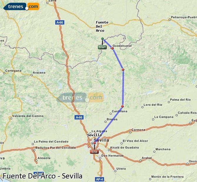 Agrandir la carte Trains Fuente Del Arco Sevilla
