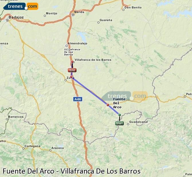 Enlarge map Trains Fuente Del Arco to Villafranca De Los Barros