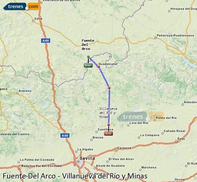 Enlarge map Trains Fuente Del Arco to Villanueva del Río y Minas