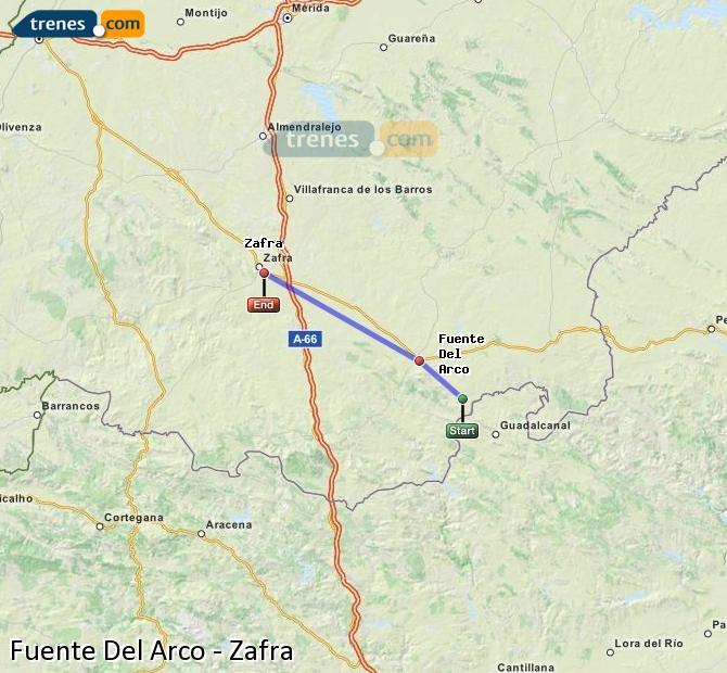Karte vergrößern Züge Fuente Del Arco Zafra