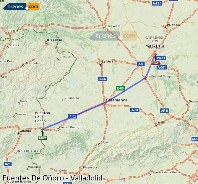Enlarge map Trains Fuentes De Oñoro to Valladolid
