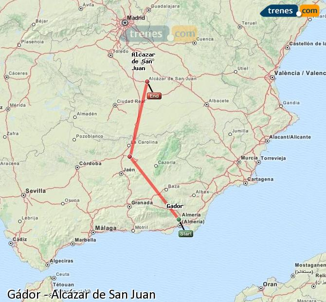 Agrandir la carte Trains Gádor Alcázar de San Juan