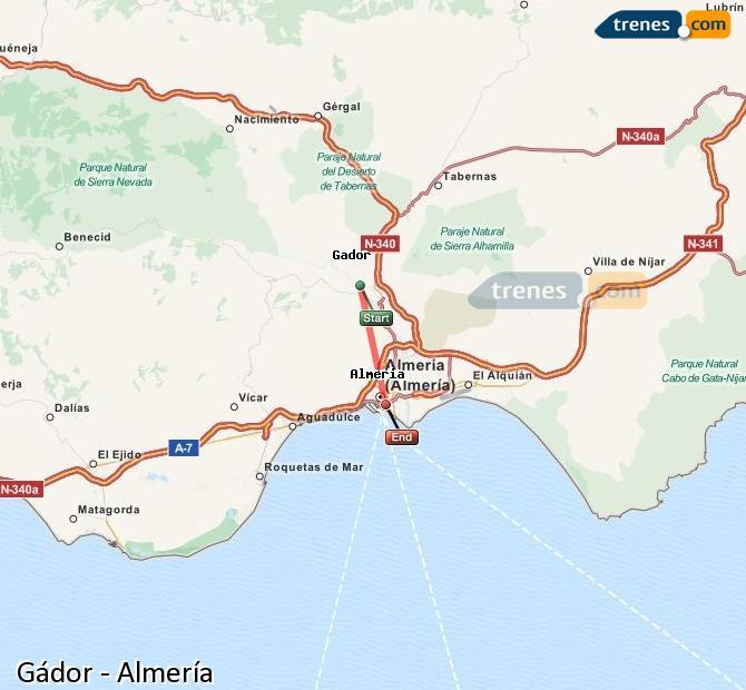 Enlarge map Trains Gádor to Almeria