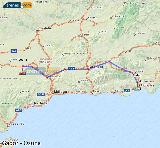Ampliar mapa Comboios Gádor Osuna