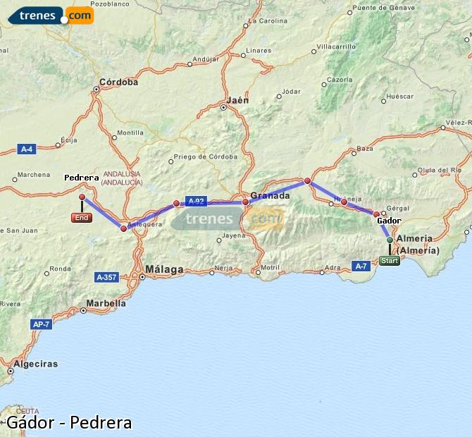 Enlarge map Trains Gádor to Pedrera
