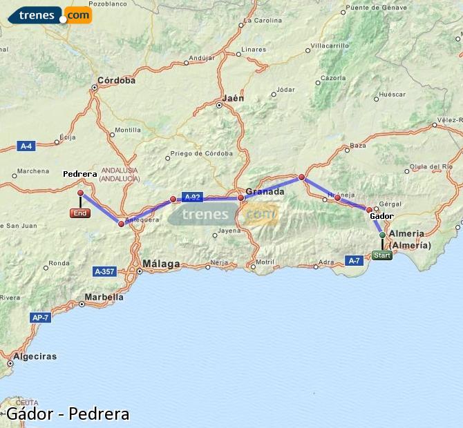 Karte vergrößern Züge Gádor Pedrera