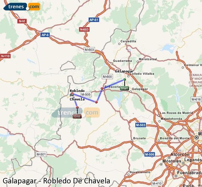 Enlarge map Trains Galapagar to Robledo De Chavela