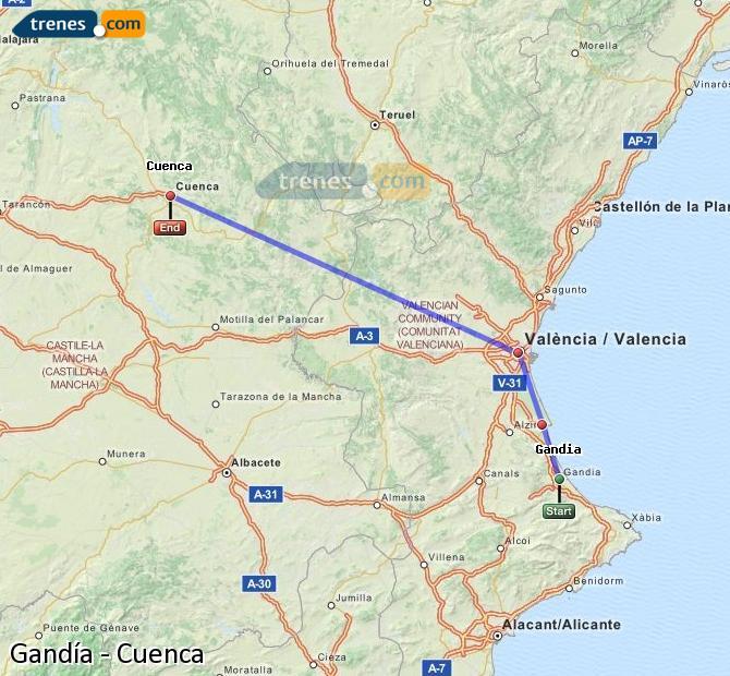 Ingrandisci la mappa Treni Gandía Cuenca