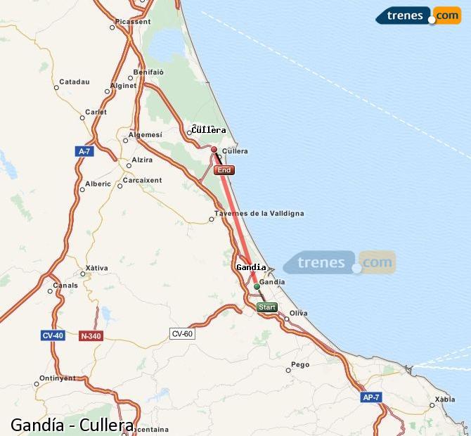 Enlarge map Trains Gandía to Cullera
