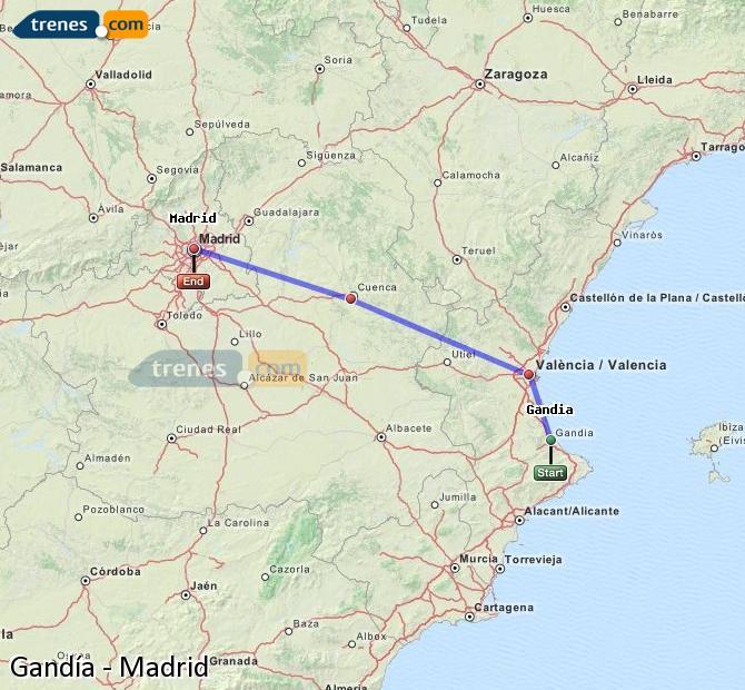 Ampliar mapa Trenes Gandía Madrid
