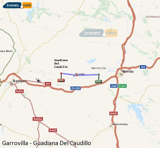 Ampliar mapa Trenes Garrovilla Guadiana Del Caudillo