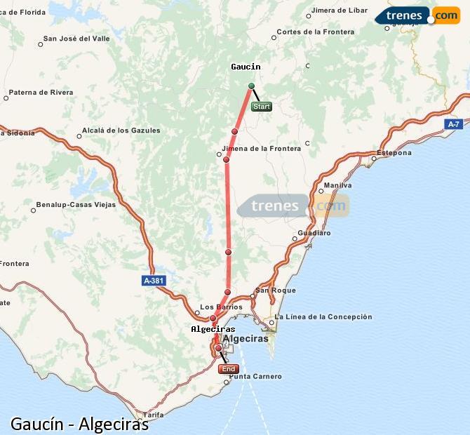 Ingrandisci la mappa Treni Gaucín Algeciras
