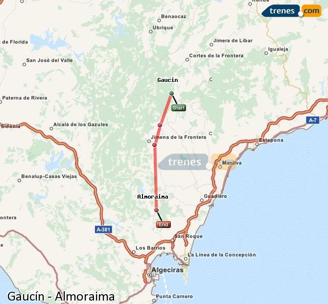 Ingrandisci la mappa Treni Gaucín Almoraima