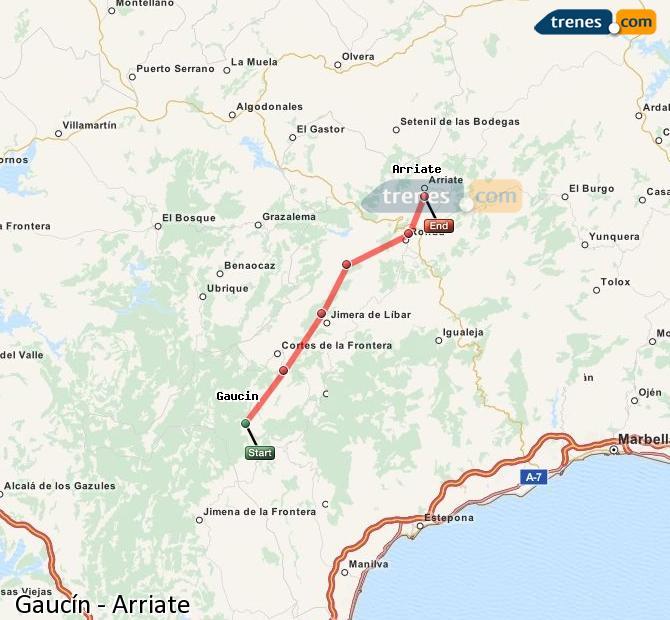 Ampliar mapa Trenes Gaucín Arriate