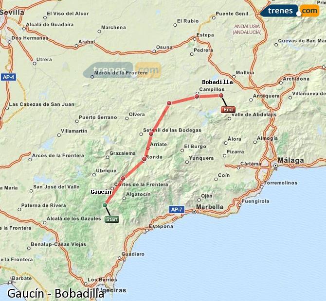 Agrandir la carte Trains Gaucín Bobadilla