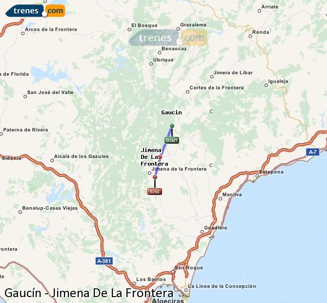 Ingrandisci la mappa Treni Gaucín Jimena De La Frontera