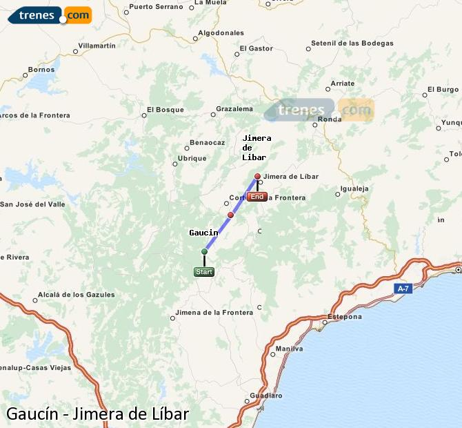Enlarge map Trains Gaucín to Jimera de Líbar