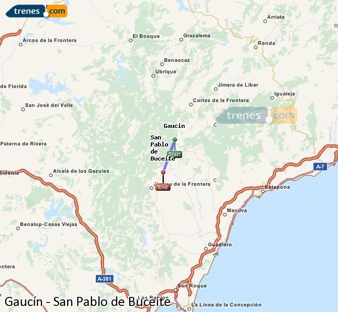 Ampliar mapa Comboios Gaucín San Pablo de Buceite
