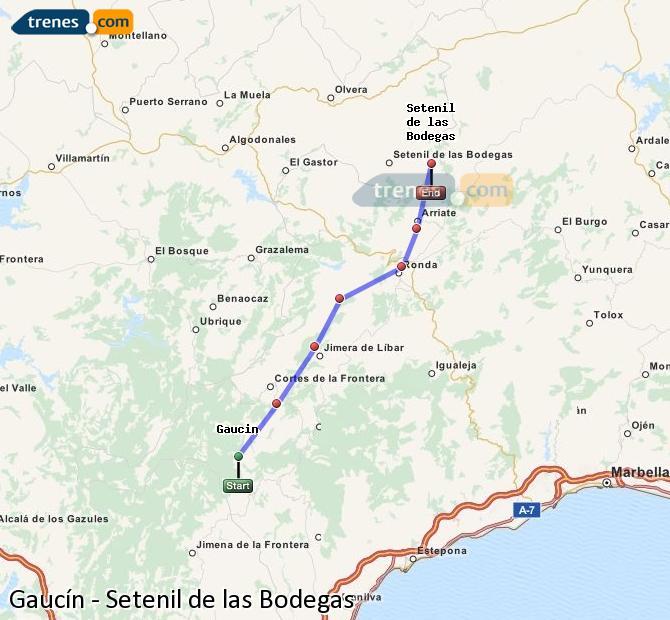 Agrandir la carte Trains Gaucín Setenil de las Bodegas