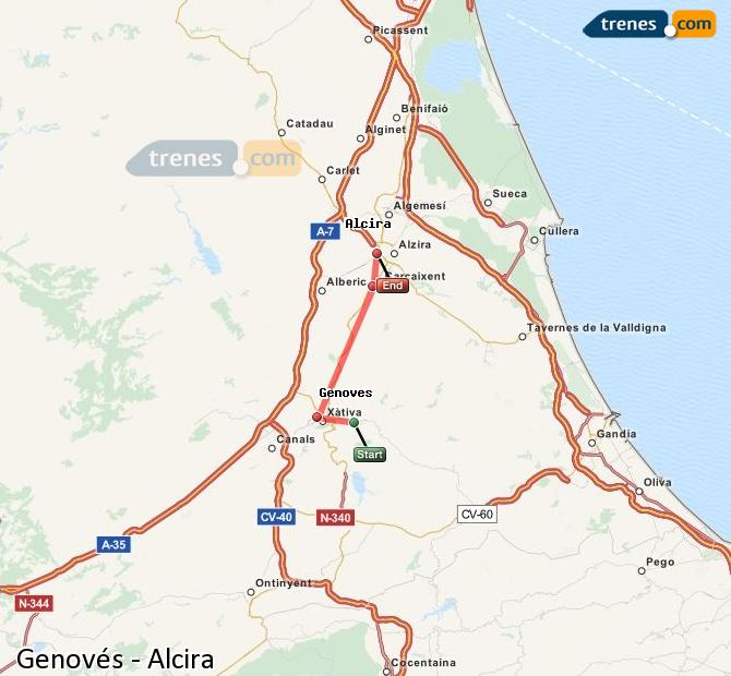 Ampliar mapa Comboios Genovés Alcira