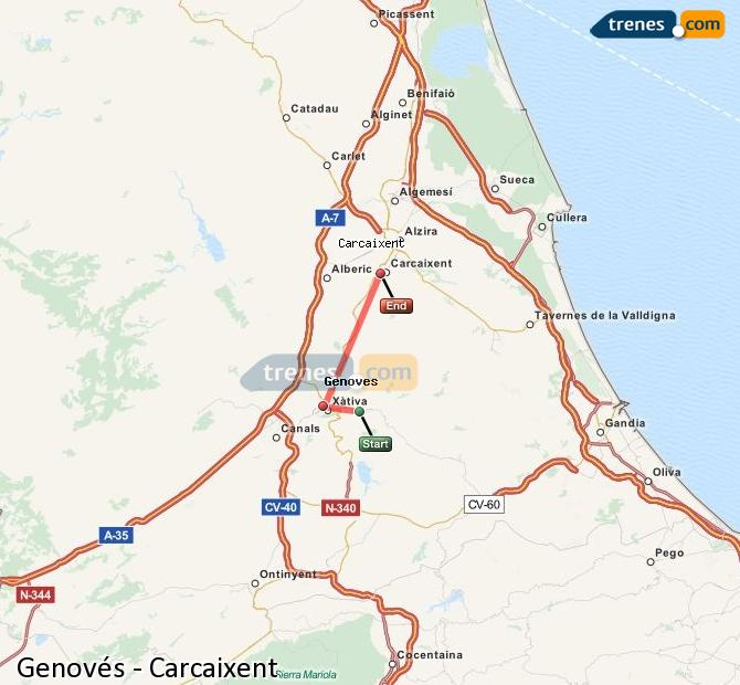 Ampliar mapa Comboios Genovés Carcaixent
