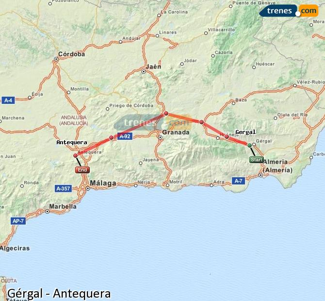 Enlarge map Trains Gérgal to Antequera