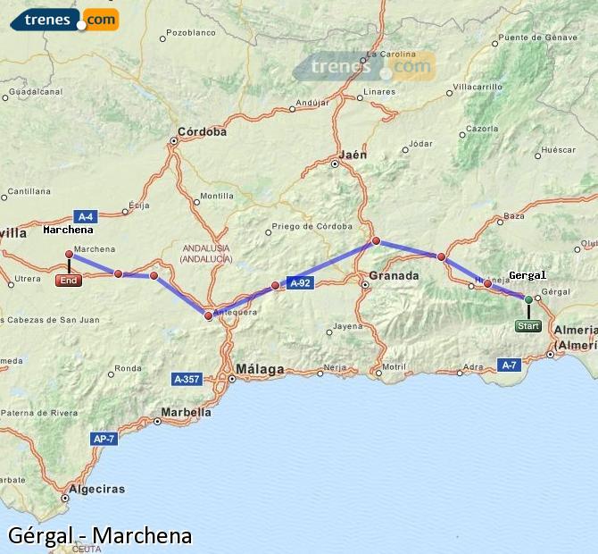 Enlarge map Trains Gérgal to Marchena