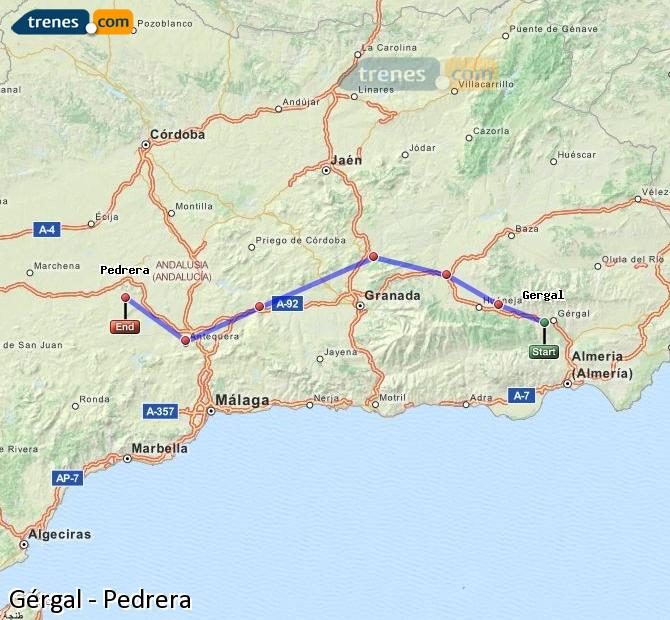 Enlarge map Trains Gérgal to Pedrera