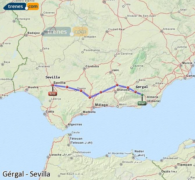 Karte vergrößern Züge Gérgal Sevilla
