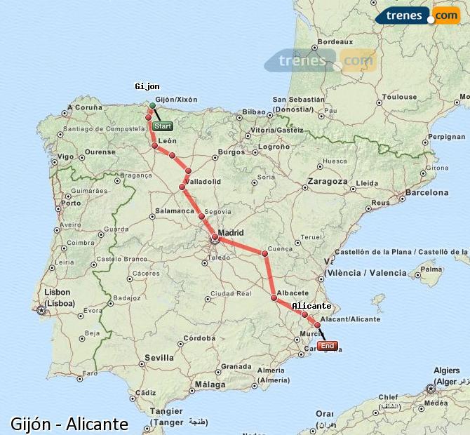 Ampliar mapa Comboios Gijón Alicante