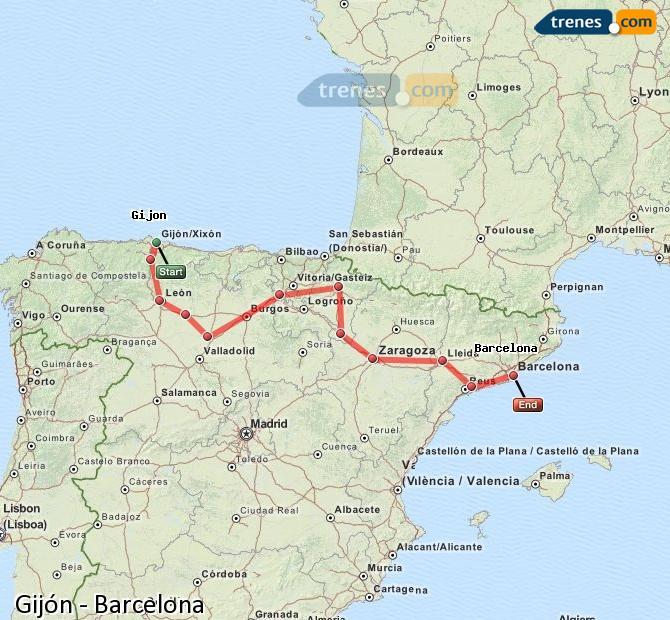 Cheap Gijn to Barcelona trains tickets from 2065 Trenescom