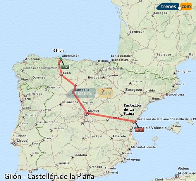 Ingrandisci la mappa Treni Gijón Castellón