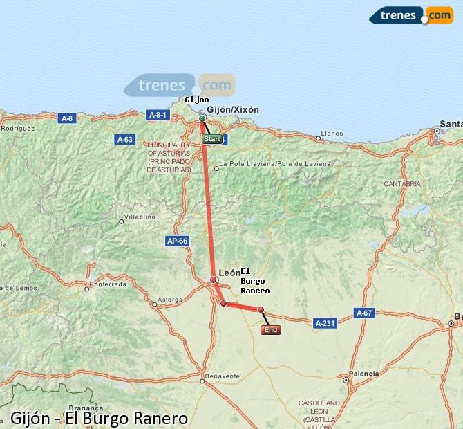 Ingrandisci la mappa Treni Gijón El Burgo Ranero